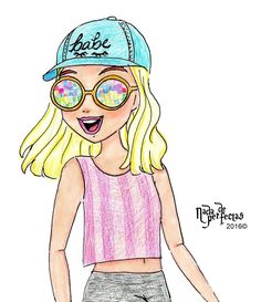 Tumblr Drawings, Bff Drawings, Cute Kawaii Drawings, Disney Drawings, Easy Drawings, Cute Girl Drawing, Sunset Wallpaper, Screen Wallpaper, Son Luna