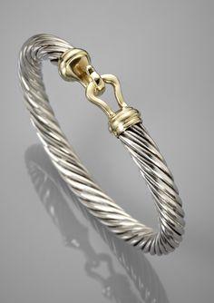 DAVID YURMAN Silver/14kt Gold Buckle Cable Bangle..