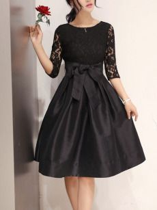 See-Through Solid Bell Sleeve Skater Dress In Black - fashionMia.com