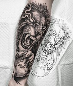 Lion done for João! Thanks a million for getting your first tattoo with me buddy! Nice idea representing his travels around the world 👊🏻… Dope Tattoos, Hand Tattoos, Forarm Tattoos, Leo Tattoos, Forearm Tattoo Men, Animal Tattoos, Unique Tattoos, Black Tattoos, Body Art Tattoos
