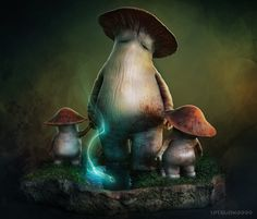Dark Souls - Controladora Mushroom e criança por tetsuok9999 na Deviantart.FOLLOW PARA MAIS ESCURO da fantasia!