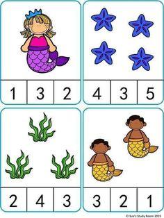 Mermaid Count and Clip Cards Math Activities For Kids, Autism Activities, Kindergarten Math Worksheets, Math For Kids, Numbers Preschool, Preschool Learning, Math Gs, Montessori Activities, Cards
