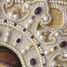 High Relief Pearl Embroidery – Close Ups and Tips: Larissa Borodich Russian Embroidery, Pearl Embroidery, Tambour Embroidery, Bead Embroidery Jewelry, Embroidery Patterns, Beaded Jewelry, Embroidery With Beads, Lesage, Gold Work