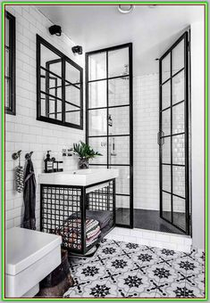 Black and white bathroom: 10 rooms to be inspired-Banheiro preto e branco: 10 ambientes para se inspirar Check out ideas of the classic black and white combination for the bathroom! (Photo: Reproduction) and white - Bathroom Interior Design, Modern Interior, Interior Decorating, Decorating Ideas, Bathroom Designs, Interior Ideas, Decorating Frames, White House Interior, Bohemian Decorating
