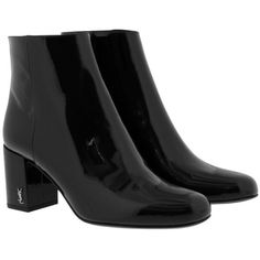 Saint Laurent Boots & Booties - Babies 70 Pin Boots Patent Leather... ($775) ❤ liked on Polyvore featuring shoes, boots, ankle booties, ankle boots, black, black boots, black booties, chunky heel booties and patent leather ankle boots