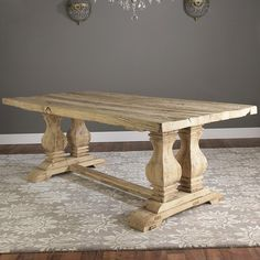 Reclaimed Elm Wood Trestle Dining Table    My next table, isn't it beautiful????