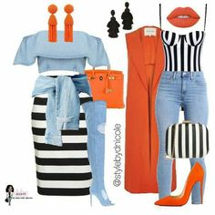 Perfect combination of stripes and denim. These outfits look good if you're shopping , out on a date, or enjoying a night with your girlfriends. Fashion Mode, Cute Fashion, Look Fashion, Autumn Fashion, Womens Fashion, Classy Outfits, Chic Outfits, Fall Outfits, Summer Outfits