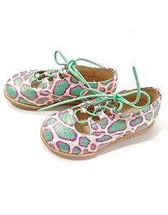Manuela de Juan Abstract Spots Mint and Pink Flats with Laces