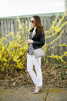 white jeans, striped shirt, leather jacket