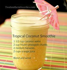 Did you know coconut water has 4 times the potassium as a banana? We buy it to include in smoothies, and also to make oatmeal with. Try this tropical smoothie if you just need a bit of Hawaii today. Thanks for sharing Super Healthy Kids Coconut Water Smoothie, Juice Smoothie, Smoothie Drinks, Detox Drinks, Healthy Smoothies, Healthy Drinks, Healthy Recipes, Tropical Smoothie Recipes, Detox Recipes