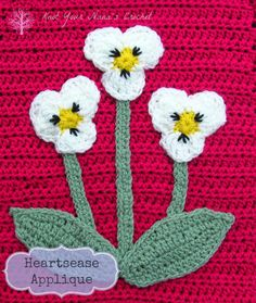 Heartsease applique (pattern) on Knot Your Nana's Crochet