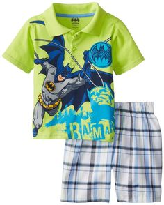 bb8c1581 Amazon.com: Warner Brothers Batman Little Boys' Polo Plaid Short Set,  Green, 3T: Clothing