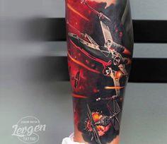 Realistic 3 colors Star Wars tattoo works by artist Levgen Tattoo War Tattoo, Star Wars Tattoo, Tattoo Art, Portrait Tattoo Sleeve, Sleeve Tattoos, Tattoo Sleeves, Star Wars Poster, Star Wars Art, Star Trek
