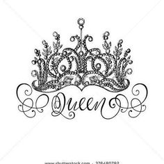 Elegant hand-drawn Queen crown with lettering. Graphic black-and-white illustrat., Elegant hand-drawn Queen crown with lettering. Graphic black-and-white illustration. Queen Crown Tattoo, King Queen Tattoo, Crown Tattoos For Women, Back Tattoo Women, Queen Drawing, Crown Drawing, Spine Tattoos, Body Art Tattoos, Compass Tattoo