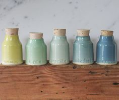 spice bottle set. small pottery jar with by vitrifiedstudio