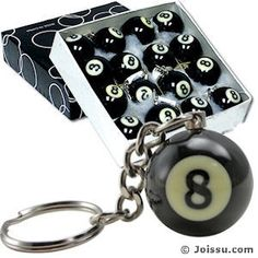 SOLID RESIN 8 BALL KEYCHAIN. Includes split keyring. Makes a great Father's Day gifts and Christmas stocking stuffers.  Size 1 Inch ball, display unit 5.5 X 5.5 X 1.5 inches