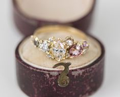 Blush Cluster Ring with Champagne and Cognac Diamonds, Purple Sapphires and Pink Zircon in 14k Yellow Gold by Melanie Casey Fine Jewelry