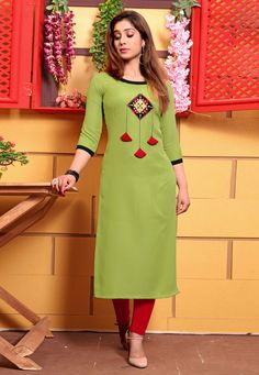Stand out from rest with this green cotton party wear kurti. The charming embroidered work a intensive element of this dress. (Slight variation in color, fabric & work is possible. Model images are on. Plain Kurti Designs, Salwar Neck Designs, Kurta Neck Design, Kurta Designs Women, Dress Neck Designs, Blouse Designs, Churidar Designs, Embroidery On Kurtis, Kurti Embroidery Design