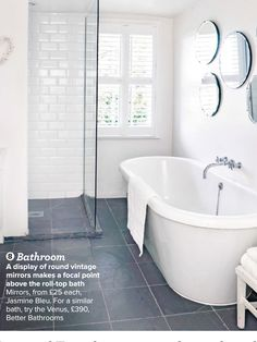 renovated white bathroom (via housetohome) - my ideal home. - Fox Home Design Grey Bathroom Floor, Slate Bathroom, Grey Bathrooms, Laundry In Bathroom, Basement Bathroom, Beautiful Bathrooms, Bathroom Flooring, Gray Floor, Bathroom Tubs