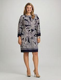roz & ALI™ Plus Size Navy Paisley Dress