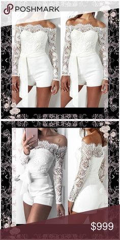 just in gorgeous romper So beautiful- lace off the shoulder romper with shorts - with waist tie - these are so beautiful Pants Jumpsuits & Rompers
