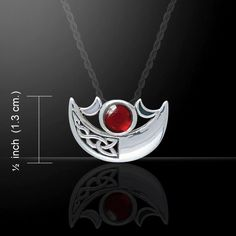 Crescent Triple Moon Sterling Silver Necklace Choice Gem Goddess Peter Stone