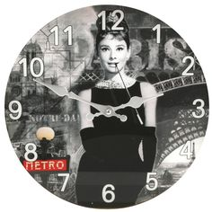 Stunning Audrey Hepburn Themed Glass Wall Clock by Haysom Interiors -- Learn more by visiting the image link. (This is an affiliate link) #Clocks
