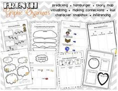 a FRENCH graphic organizer bundle for your French Immersion or Core French classroom! 8 great organizers including making inferences, making connections, etc. Teaching French Immersion, High School French, French Teaching Resources, Teaching Secondary, French Education, Core French, Making Inferences, French Classroom, Making Connections