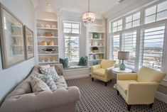 Love the mix of gray and yellow. Very soothing. via House of Turquoise: Highland Custom Homes