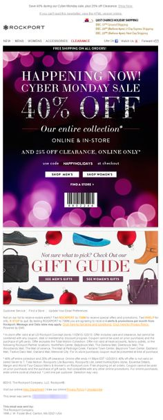 Sent: 12/2/13 SL;'Cyber Monday Sale! 40% Off Savings + 25% Off Clearance' Gift Guide feature as part of a Rockport Cyber Monday email campaign