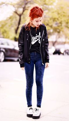 #grunge #punk #fashion #beauty I love her creepers! They're white! I saw ones just like them at Little Burgundy's a few days ago!