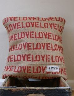 burlap love pillow
