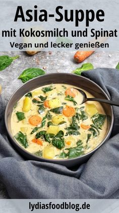 Asiatische Suppe mit Kokosmilch und Spinat, Rezept A quick recipe for Asian soup with coconut milk a Quick Recipes, Soup Recipes, Vegan Recipes, Shrimp Recipes, Salmon Recipes, Recipes Dinner, Crockpot Recipes, Chicken Recipes, Dessert Recipes