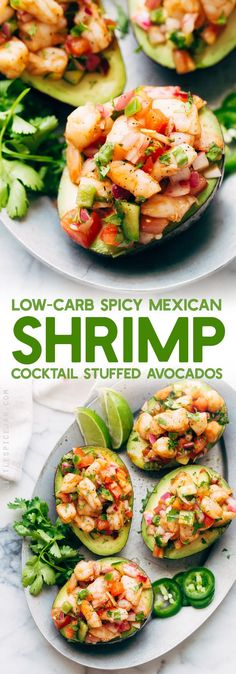 Mexican Shrimp Cocktail Stuffed Avocados - these avocados boats are easy to make and contain just 7 grams of next carbs! A fresh summer meal that will keep you nice and full! #avocadoboats #stuffedavocados #shrimpceviche #lowcarbmeals | Littlespicejar.com