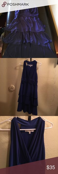 Evan-Picone Size 10 belted dress Royal blue, ruffle skirt, very flattering fit. Material is 95% Polyester/5% spandex. Evan Picone Dresses Midi