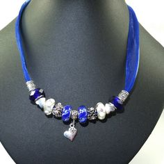 European Charm Necklace OOAK Handmade Royal Blue by BekisBeads