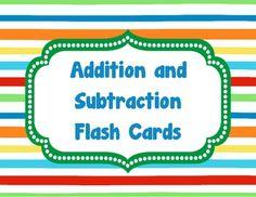 Addition & Subtraction Flash Cards - Berry Creative - TeachersPayTeachers.com