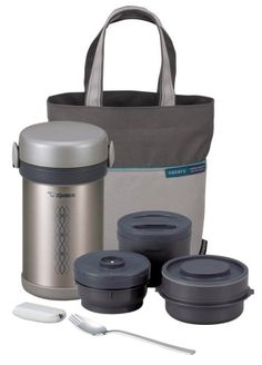 Here are some lunch boxes for adults with a thermos, the Zojirushi's Mr. Bento Stainless Lunch Jar very popular and in Silver it looks great. This is unique and functional. Stainless steel construction and vacuum insulation. Four microwaveable inner bowls and washable container. Includes a convenient carry strap for easy transport and a easy to carry bag.