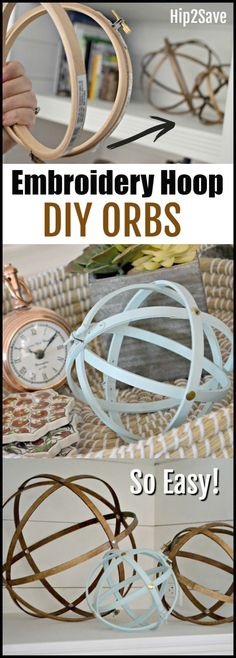 Farmhouse Style Orbs Using Embroidery Hoops You won't believe how easy it is to make these inexpensive farmhouse style decorative orbs for your home!You won't believe how easy it is to make these inexpensive farmhouse style decorative orbs for your home! Easy Home Decor, Handmade Home Decor, Cheap Home Decor, Diy Decorations For Home, Inexpensive Home Decor, Upcycled Home Decor, Diy Simple, Easy Diy, Home Decor Accessories