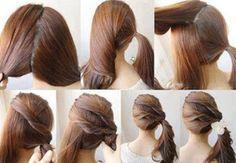 Cola de medio lado, decorada por franjas de cabello