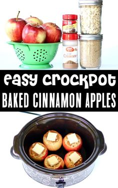 Baked Apples Recipe: Easy Healthy Crockpot Desserts are the perfect ending to any day, and you'll want this delicious treat on repeat all season long! Go grab the recipe and give it a try this week! Crockpot Dessert Recipes, Apple Recipes Easy, Crock Pot Desserts, Crock Pot Cooking, Fruit Recipes, Fall Recipes, Delicious Desserts, Apple Crockpot Recipes, Potluck Desserts