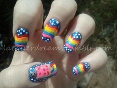 Lacquer Dreams: Day 16 - Rainbow - Nyan cat!