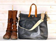 Unisex WAXED Canvas Messenger bag  //  TOTE / Diaper bag dark GRAY/ Leather straps / Men messenger / Travel bag/Diaper bag