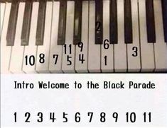 Intro to Welcome to the Black Parade. I actually figured this out by myself, but it matches up perfectly X3