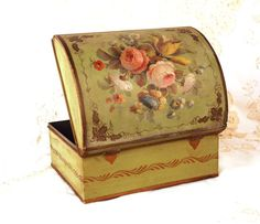 Antique French Metal Coffre w/Large Hand Painted Floral Bouquet. The box dates from Tin Boxes, Floral Bouquets, Tins, Spring Flowers, French Antiques, Green Colors, Dates, Decorative Boxes, Delicate
