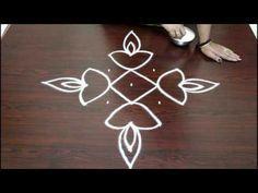 easy rangoli designs for diwali with 7 to 1 dots- deepam kolam designs - muggulu designs - YouTube
