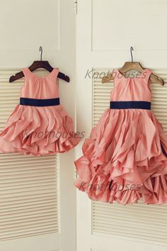 Pink Taffeta Ruffle Flower Girl Dress Navy Blue Belt Junior Bridesmaid Dress Toddler Kids Dress for Wedding on Etsy, $47.84 AUD