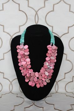 Lila necklace - Modern & preppy.  Pink teardrop shaped beads with turquoise discs.. $95.00, via Etsy.