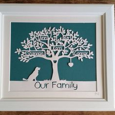 Deluxe Family Tree Papercut Framed by KBCrafts1994 on Etsy