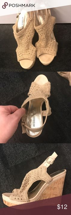 Audrey Brooke tan crochet wedge sandals Audrey Brooke wedge crochet tan sandals with a cork wedge. Size 7 1/2. Wedge is 5 inches. Audrey Brooke Shoes Sandals